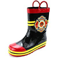 Fireman Kids Firefighter Costume Style Rain Boots (7/8M US Little Kid, Fire Dept Black)