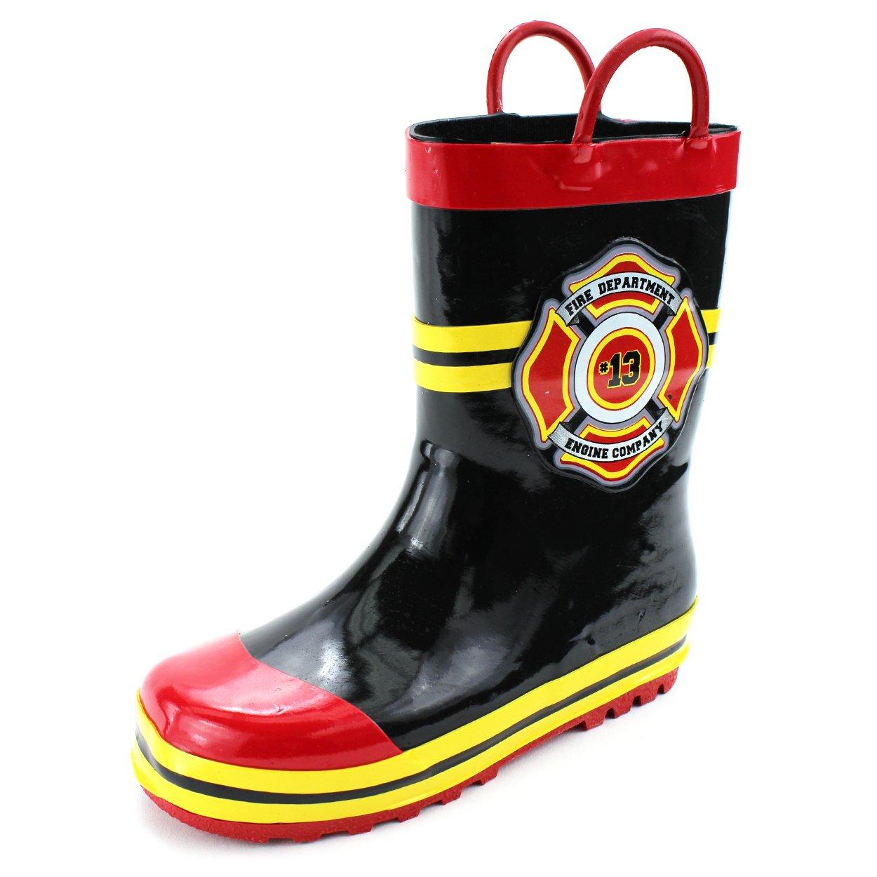 Fireman Kids Firefighter Costume Style Rain Boots (9/10 M US Little Kid, Fire Dept Black)