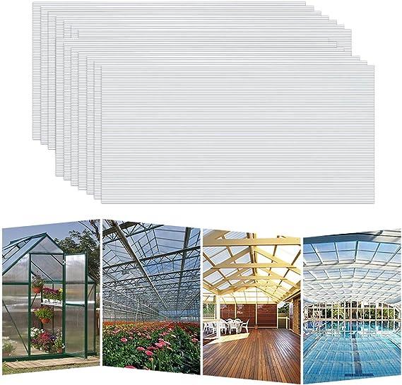 Hengmei - 14 planchas alveolares de cámaras huecas de policarbonato, 4 mm, 10,25 m2, placas de doble puente resistentes a los rayos UV, para invernadero, jardín: Amazon.es: Jardín