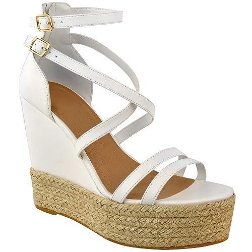 Miss Image UK Mujer Plataforma Tira en Tobillo Cuña Alpargatas Sandalias de Tiras Zapatos Talla: Amazon.es: Zapatos y complementos