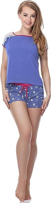 TALLA XXL. Merry Style Pijamas Conjunto Camiseta y Pantalones Cortos Short Mujer MS10-135