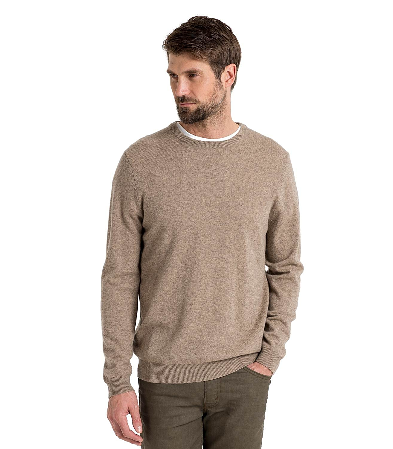 WoolOvers Mens Cashmere and Merino Crew Neck Sweater Pepper, L