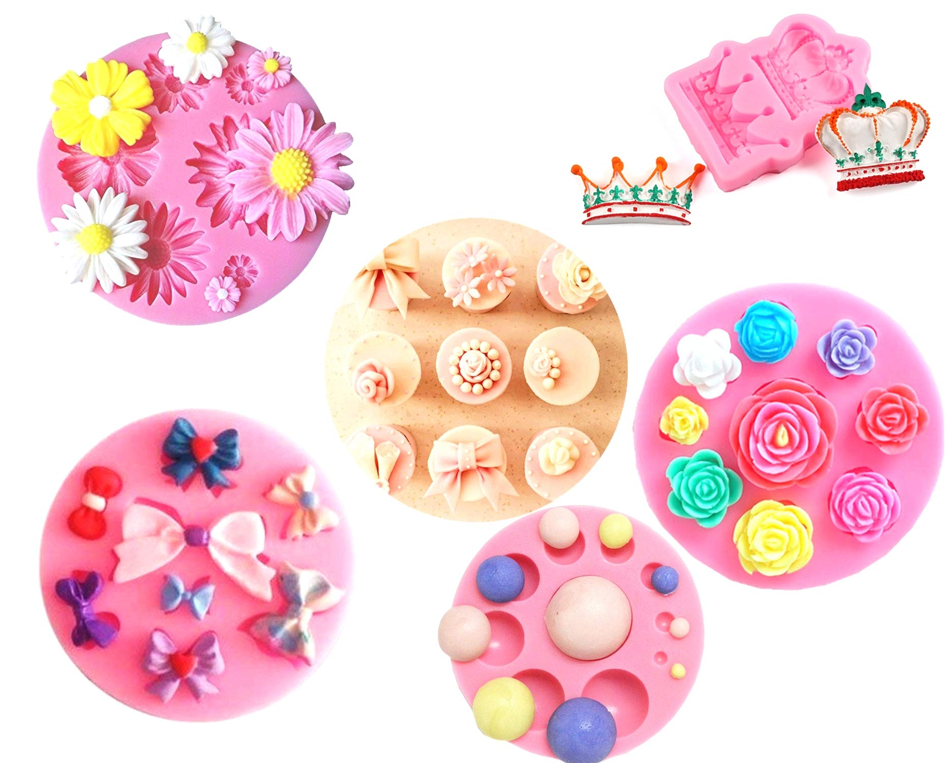 stbeyond Fondant Candy Silicone Mold – Crown, Rose, Bow, Dome, Daisy mold - for Sugarcraft, Cake Decoration, Cupcake Topper, Chocolate, Pastry, Cookie Decor, Jewelry, Polymer Clay, Epoxy Resin (5pack)