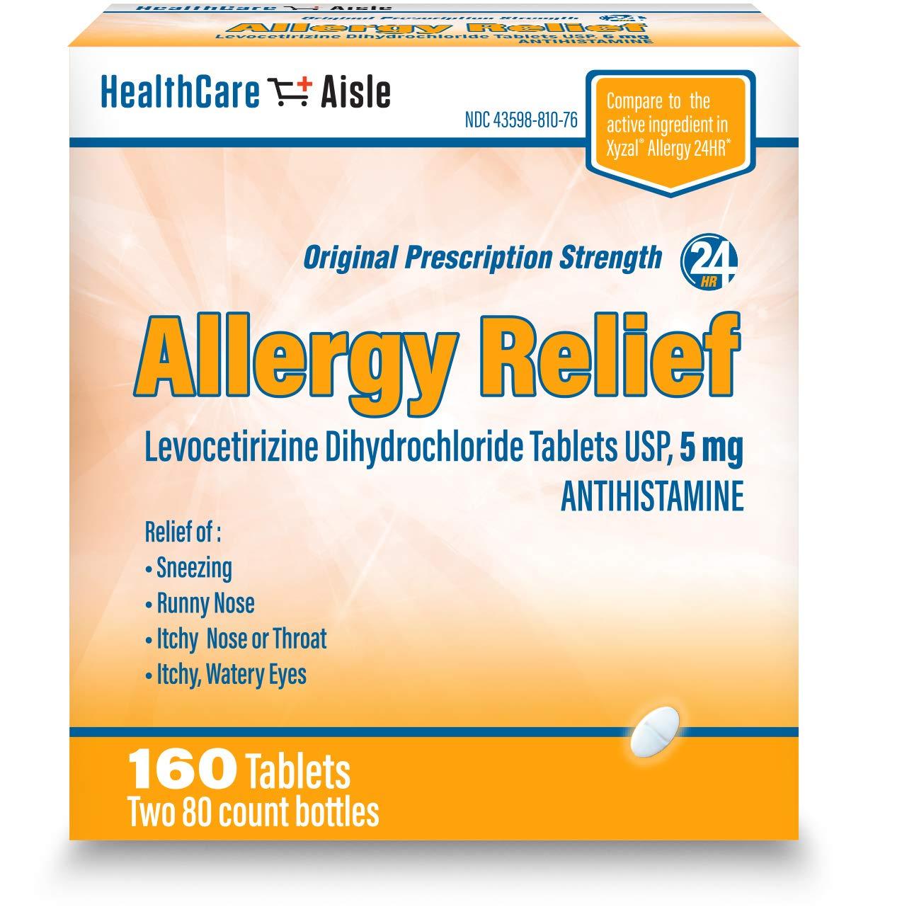 HealthCareAisle Allergy Relief Levocetirizine Dihydrochloride Tablets, USP | 24 Hour Allergy Relief | 5 mg | 160 Count by HealthCareAisle