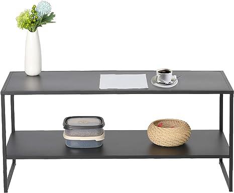 Amazon Com Koreyosh Simple Style Tea Table Modern Coffee Table With Metal Frame Light Weight Tea Table Storage Shelf 44 L X 21 W X 18 H Kitchen Dining