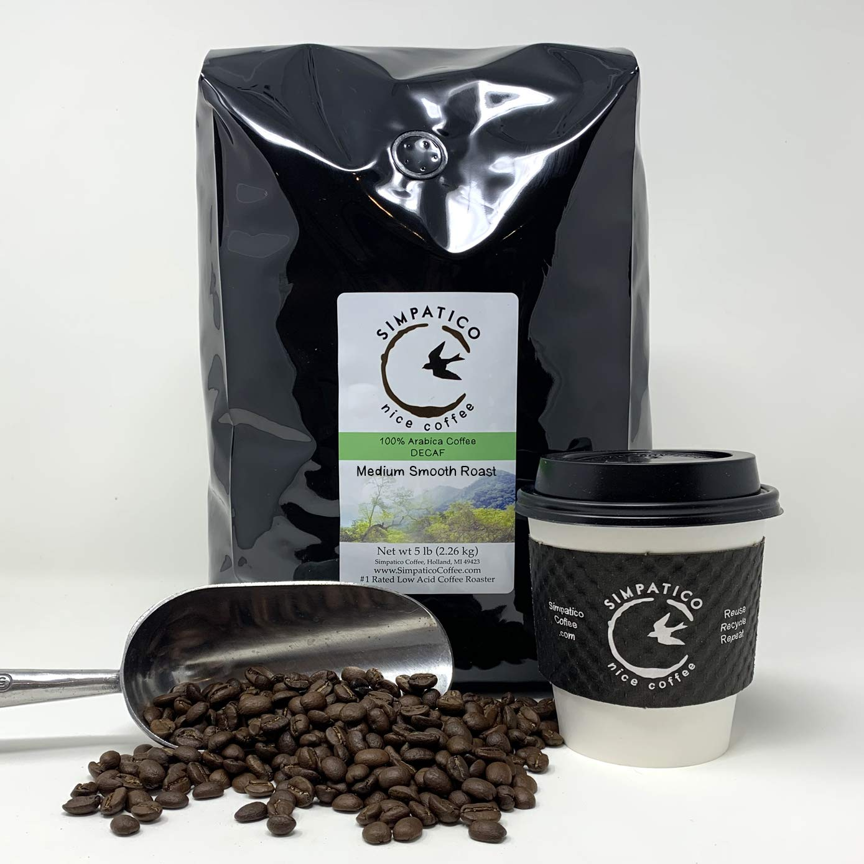 B005HI44WK Simpatico Low Acid Coffee - DECAF - Medium - WHOLE BEAN (5 pound bag) 71J6W2BepvxL