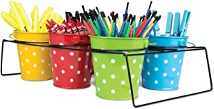 Teacher Created Resources Polka Dot Buckets & Caddy Set, (9487)
