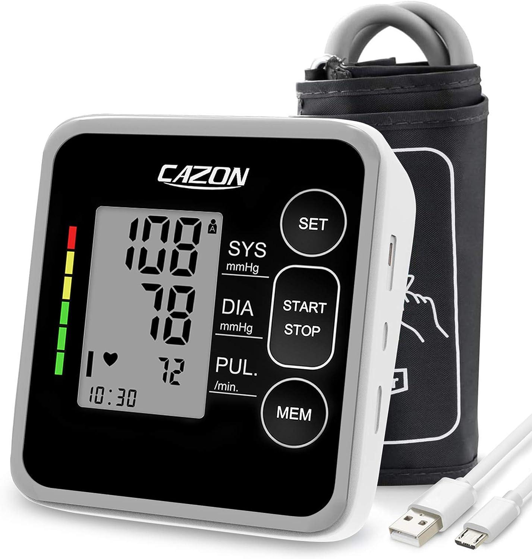 "Blood Pressure Monitor Cuff Upper Arm Home Use BP Cuff Kit Blood Pressure Machine Pulse Rate Monitoring Meter 2x120 Memory with Cuff 8.7""-15.7"""