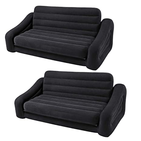 Fabulous Intex Inflatable Queen Size Pull Out Futon Sofa Couch Bed Dark Gray 2 Pack Andrewgaddart Wooden Chair Designs For Living Room Andrewgaddartcom