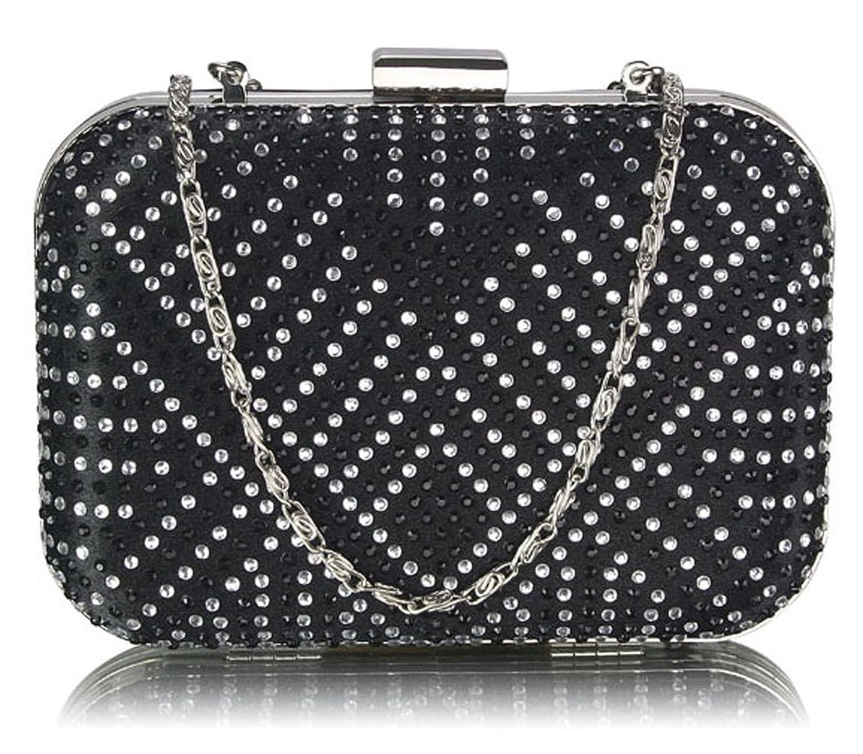 Ladies Hard Case Metal Box Diamante Clutch Bag Women Evening Prom Party Purse UK