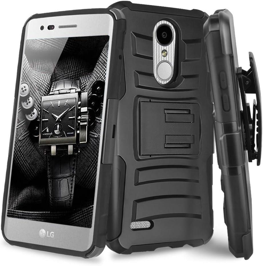 TJS Case for LG Aristo 2/Aristo 2 Plus/Aristo 3/Aristo 3 Plus/Tribute Dynasty/Tribute Empire/Fortune 2/Rebel 3 LTE/Zone 4/Rebel 4/Phoenix 4/K8 Plus, Belt Clip Holster Hybrid Kickstand Cover (Black)
