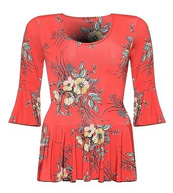 Rimi Hanger Womens Burnt Orange Floral Printed Top Ladies Plus Size