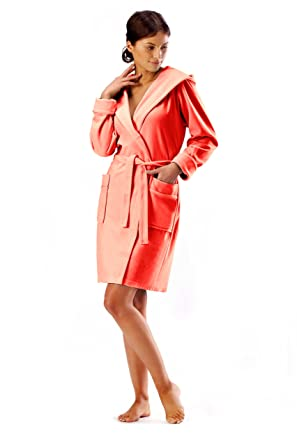 77966d3bdb Womens Bathrobe Cotton Short Terry Towelling Dressing Gown Housecoat Belt  and Hood