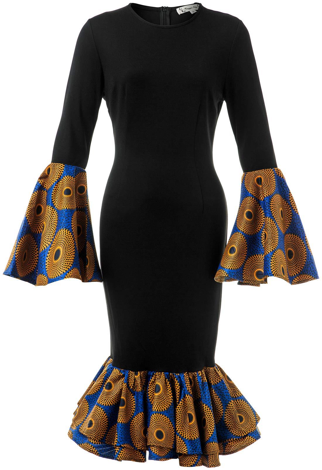 HongyuAmy Women African Print Dress Ankara Dress Dashiki Traditional Clothing (XX-Large, Color B)