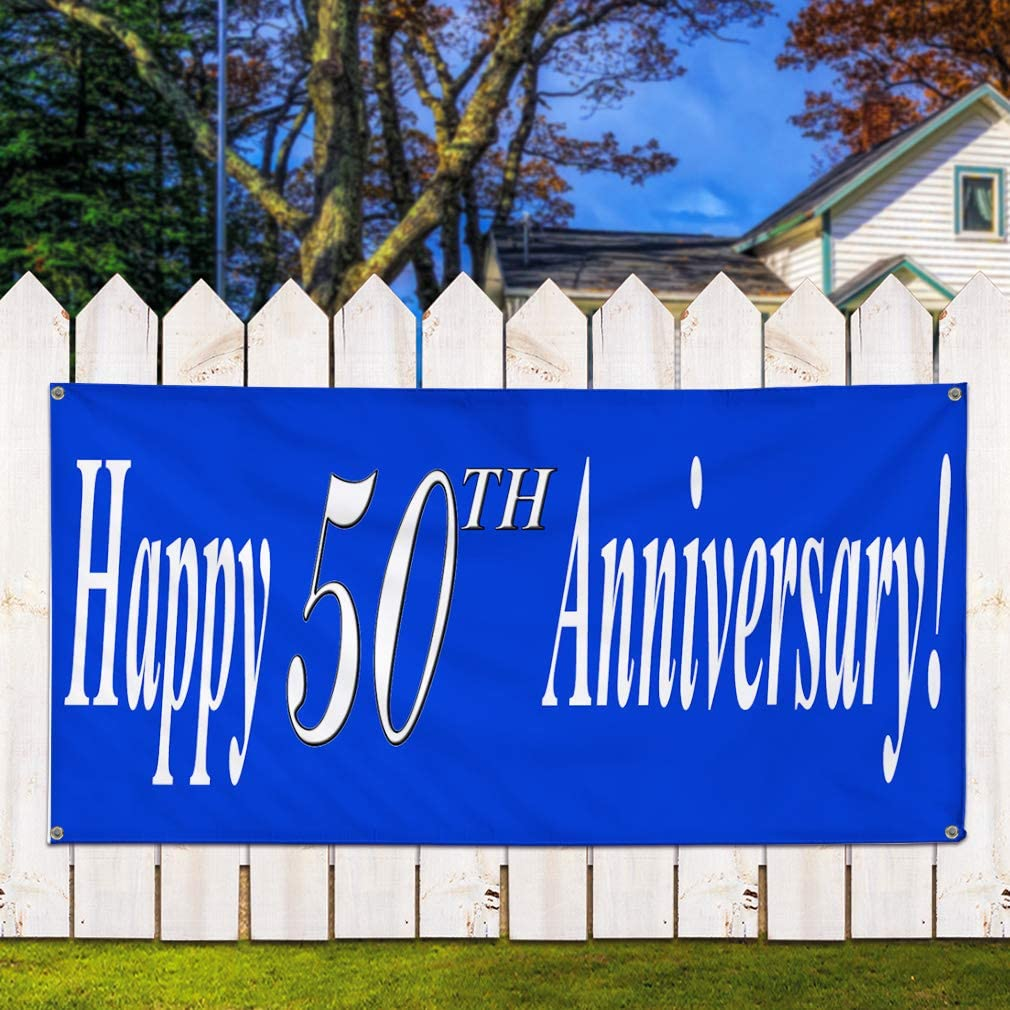 24inx60in Custom Date Blue Marketing Advertising Blue Vinyl Banner Sign Happy 50Th Anniversary Multiple Sizes Available Set of 3 4 Grommets