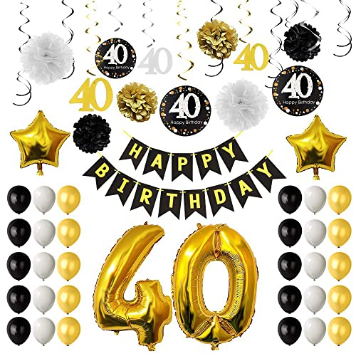 TUPARKA 40th Birthday Party Decorations40th Balloons Paper Pom Poms Hanging Swirls