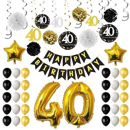 TUPARKA Decoración la Fiesta de cumpleaños 40 o, cumpleaños hincha 40 o, de Papel, Pompones Colgantes remolinos, Hoja de Oro Globos Feliz 40o ...