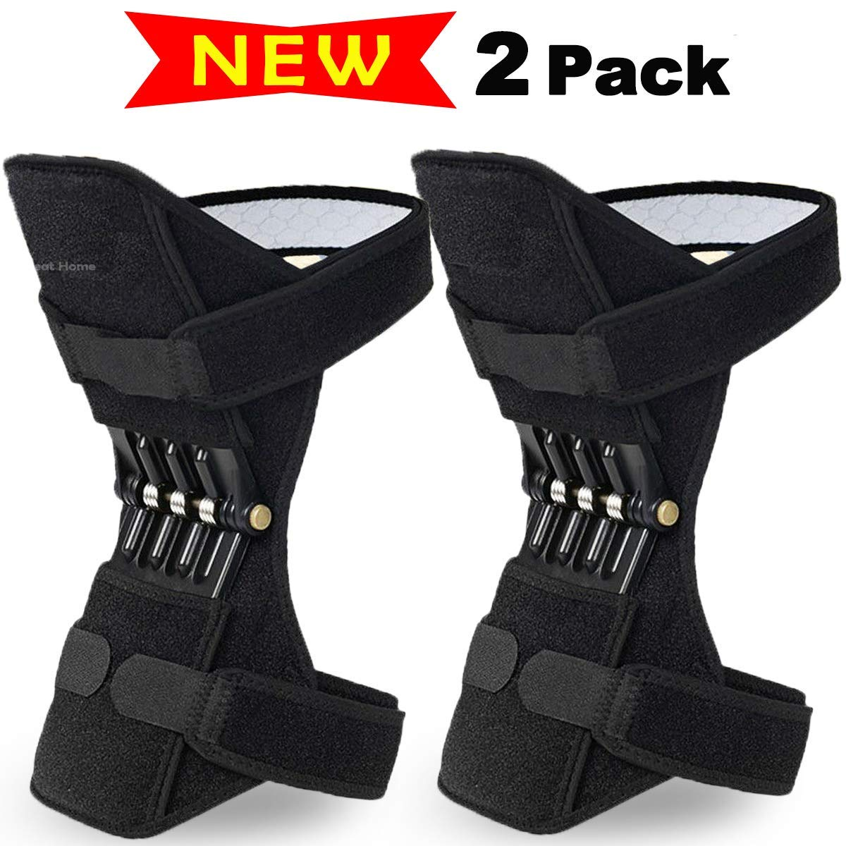 Power Lift Leg Knee Joint Support Pads Brace Powerful Rebound Spring Force Powerlift Knee Protection Booster for Running, Basketball, Weightlifting, Gym, Sports by Great Home