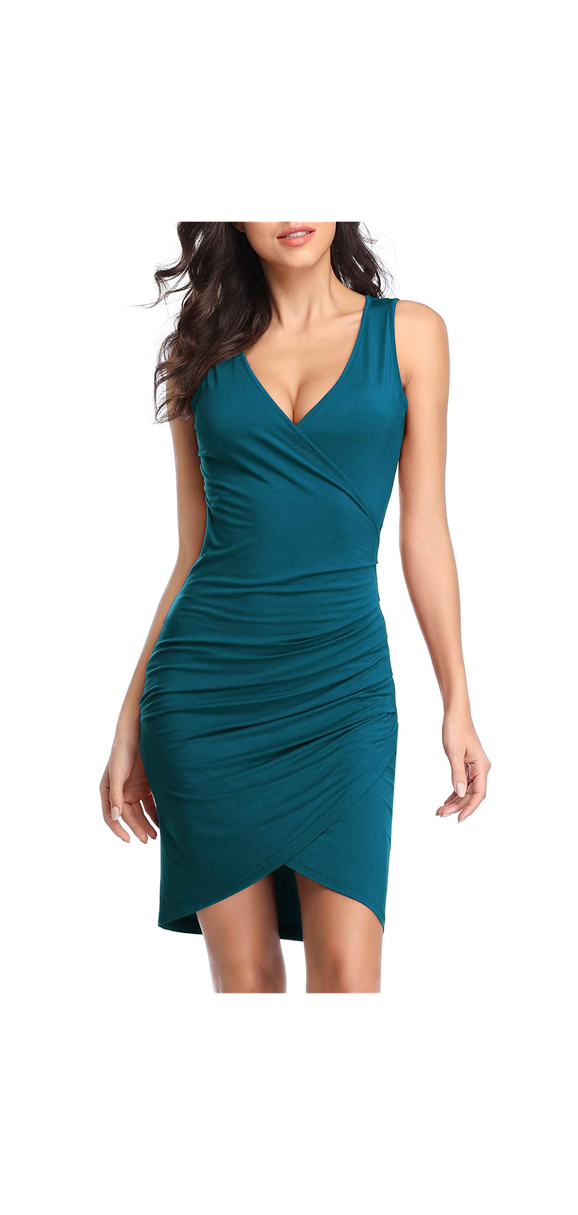 Women's Sleeveless Deep V Neck Wrap Ruched Bodycon Party
