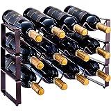 3 Tier Stackable Wine Rack, Countertop Cabinet Wine Holder Storage Stand - Hold 12 Bottles, Metal (Bronze)