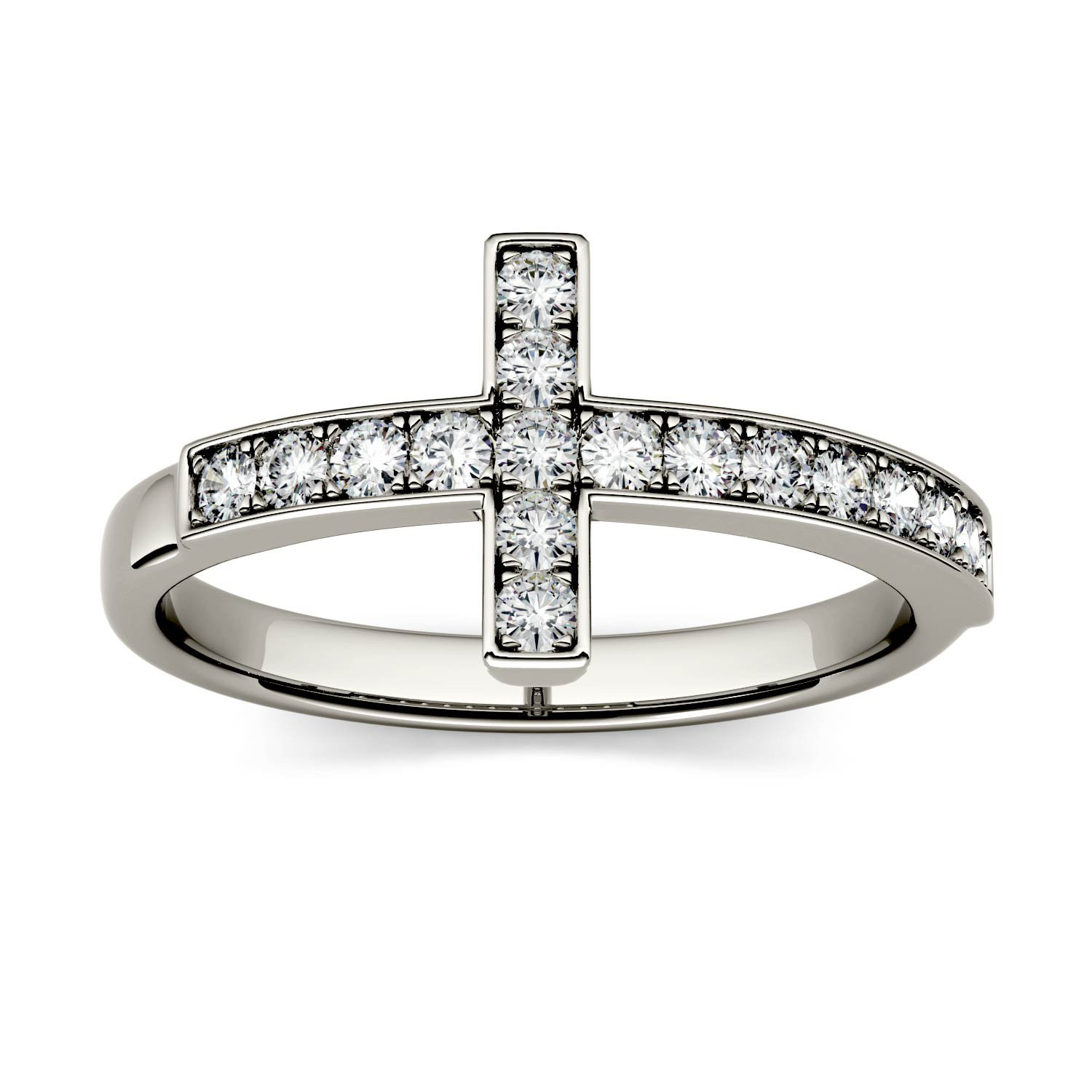 Forever Classic 1.7mm Round Cross Ring-size 5, 0.34cttw DEW By Charles & Colvard