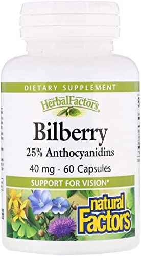Natural Factors – HerbalFactors Bilberry, Nutritional Support for Vision, 60 Capsules