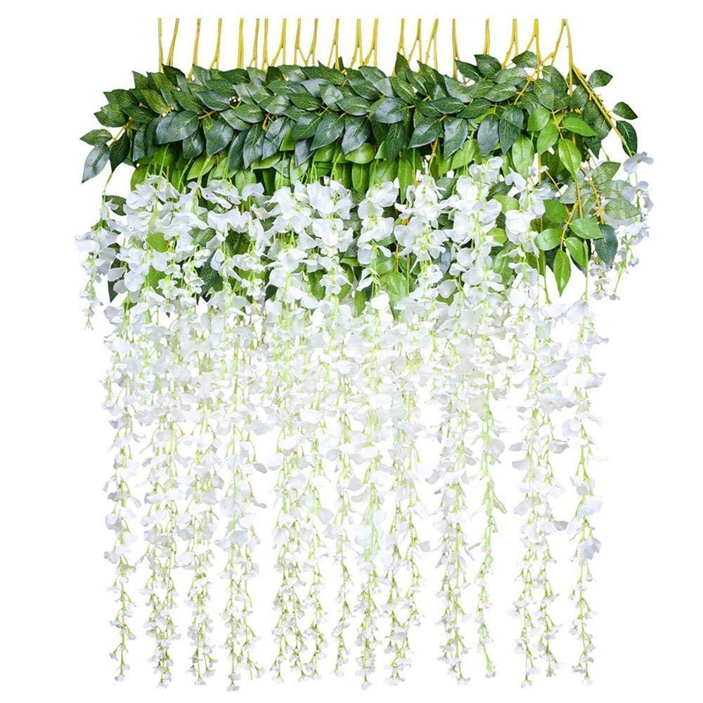 12 Pack Artificial Wisteria Vine Garland - Kanical White Fake Silk Wisteria Vine Hanging Flowers String for Home Garden Wedding Decor