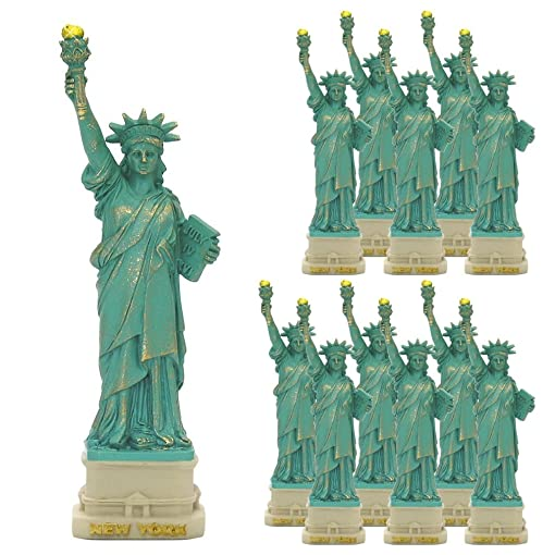 City-Souvenirs 12 Pack New York City Party Supplies, 4 Statue of Liberty Statues Replica Gifts with Copper Tint Statue of Liberty Souvenir Figurines from New York