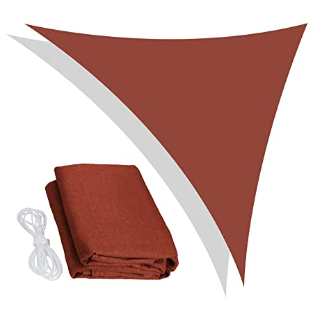 Peaktop 18x18x18 Ft Sun Shade Sail Triangle Canopy with 98 UV Block Terracotta