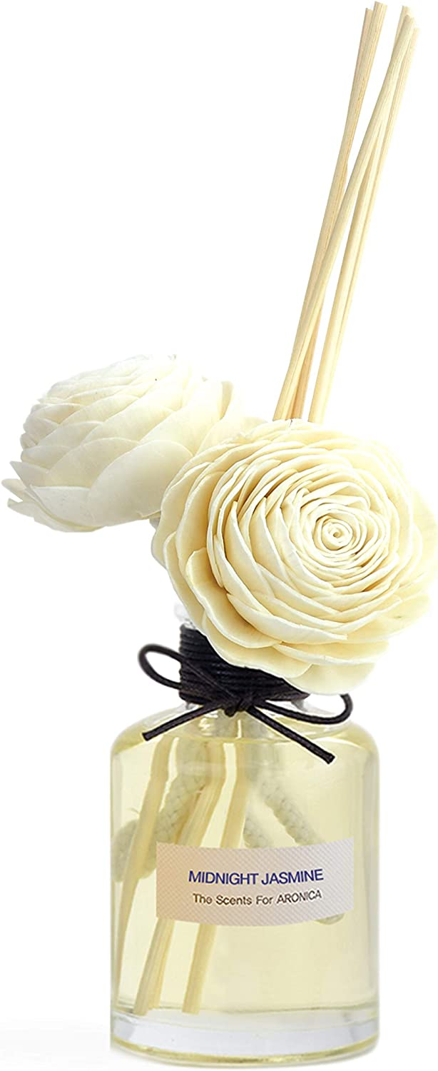 Aronica Premium Package Twin Sola Flower and Reed Diffuser 5.4oz/160 ml (Midnight Jasmine)