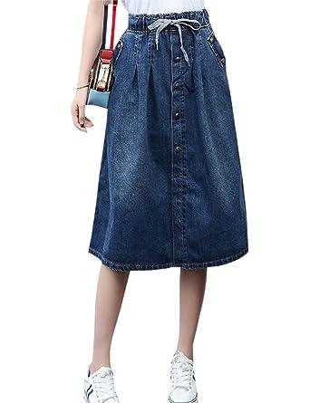 76758b0f7e7eca Tanming Women's Below Knee Button Front Elastic Waist Long Denim Skirt (X- Small,