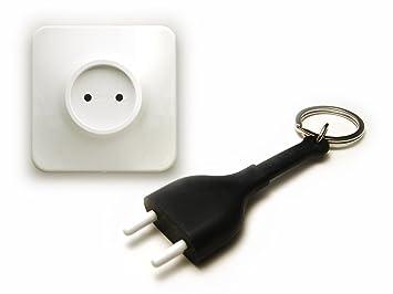 Llave plana enchufe con conector en Negro - Unplug Key Ring ...