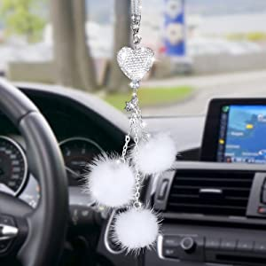 Bling Car Mirror Hanging Accessories for Women, Cute Lucky Car Interior Rear View Mirror Decor Hanging Crystal Rhinestone Diamond Ball Accessories Charms for Women Girl (White2)