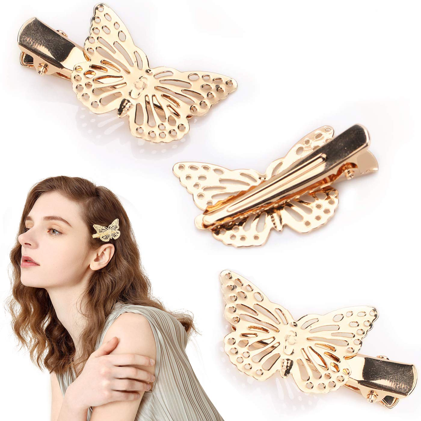 Amazon.com : Golden Butterfly Hair Clips Luxe Metal Butterfly Hair ...