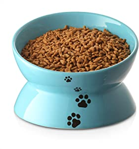 Y YHY Cat Bowl Large, Raised Cat Food Bowls Anti Vomiting, 7.2 Inch Tilted Elevated Cat Bowl, Ceramic Pet Food Bowl for Adult Cats or Medium Dogs, Protect Pet's Spine, Dishwasher Safe, Lake Blue