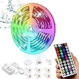 Led Strip Lights, 16.4ft/5M 24V RGB Color Changing Waterproof Led Strip Lights with 44 Keys RF Remote Controller 5050…