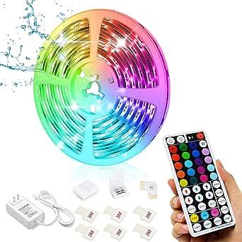 Led Strip Lights, 16.4ft/5M 24V RGB Color Changing Waterproof Led Strip Lights with 44 Keys RF Remote Controller 5050 LED Rope Lighting Strips for Bedroom Room TV Party Festival Wedding