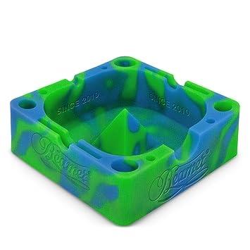 amazon com blue green beamer silicone premium ashtray w glass