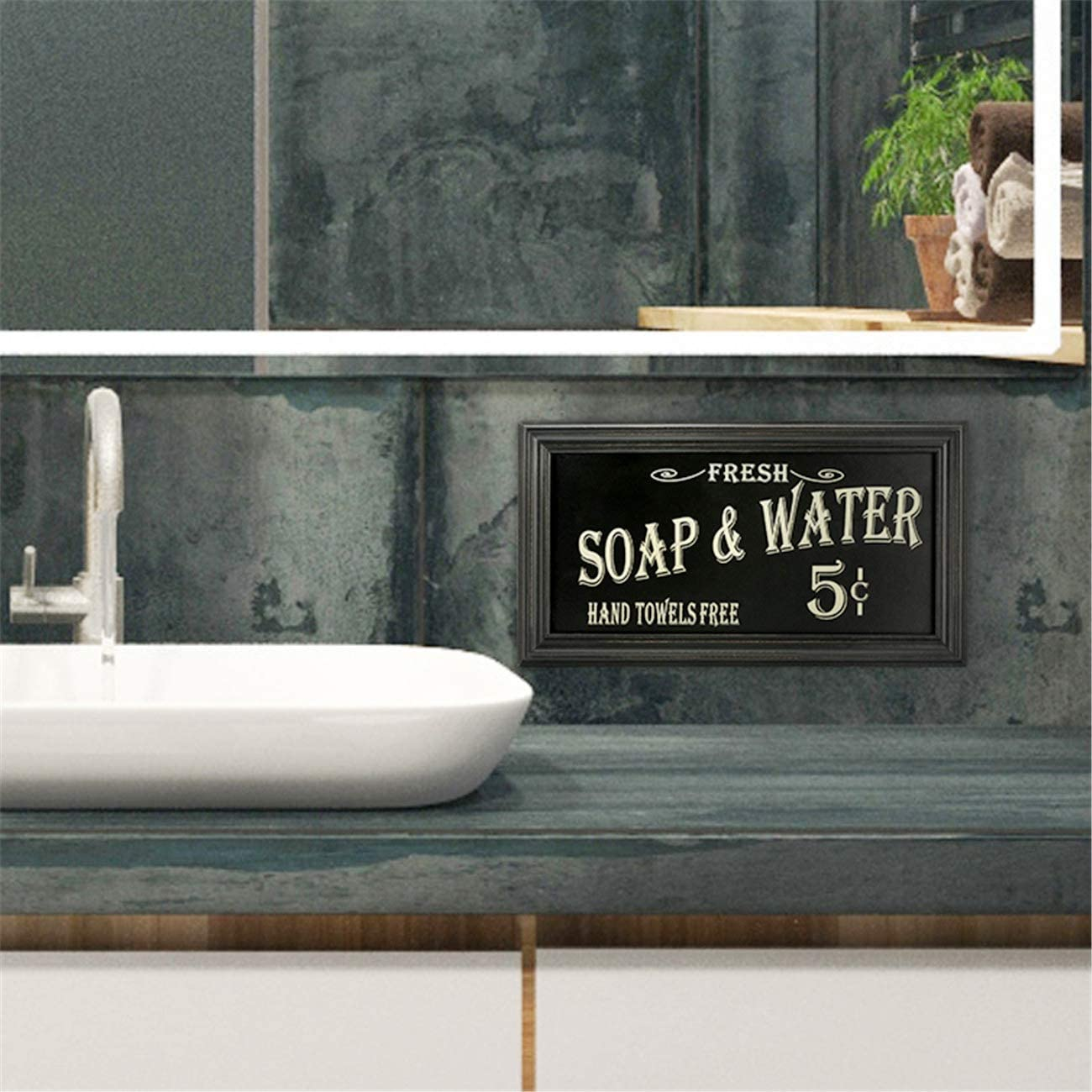 Plaques Signs Vintage Bath Room Advertising Wall Art Distressed Sign Decor Soap And Water Home Furniture Diy Breadcrumbs Ie