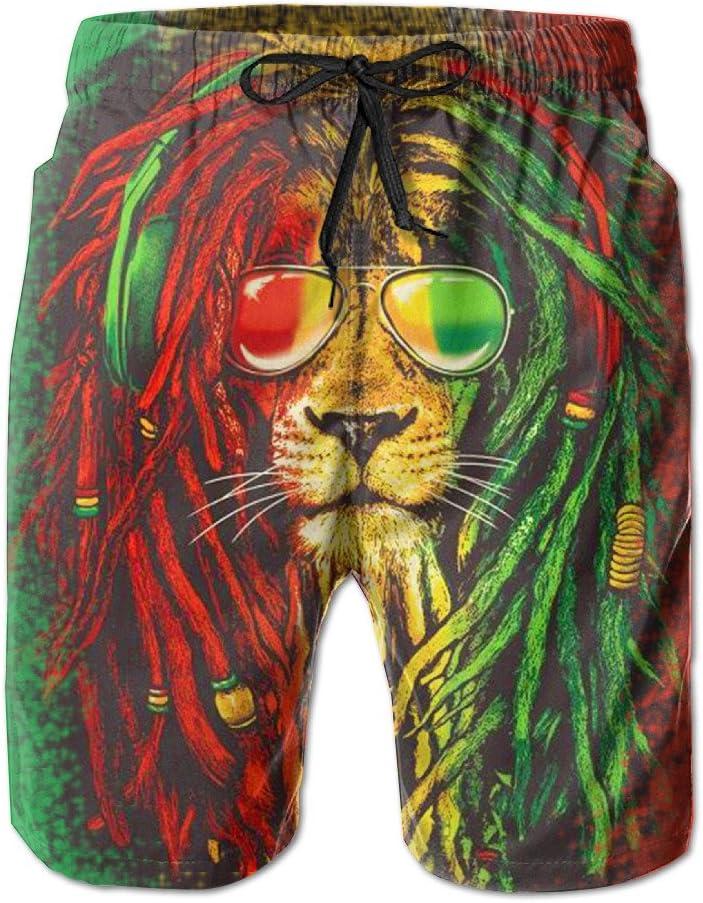 Reggae Rasta Flag Lion Mens Printing Quick Dry Beach Board Shorts Swim Trunks