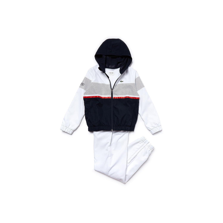 5b4ec5db56e2d3 Lacoste Sport Tracksuit ColourBlock Design For Kids (White Navy Red)-128.   Amazon.co.uk  Sports   Outdoors
