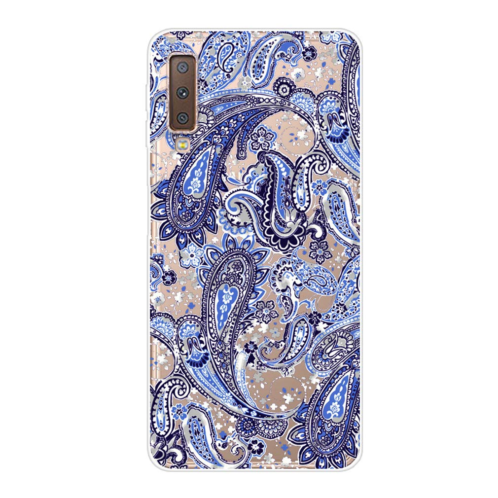 Karomenic kompatibel mit Samsung Galaxy A7 2018 Silikon H/ülle Kreative Cartoon Transparent Handyh/ülle Durchsichtig Schutzh/ülle Crystal Clear Weiche Soft TPU Tasche Bumper Case Etui,Blume