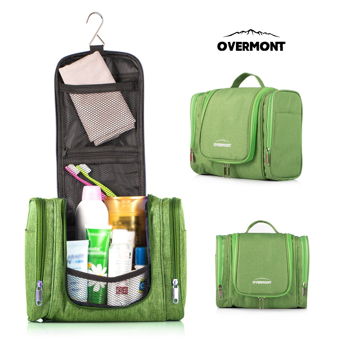 Overmont Hanging Toiletry Bag, Large Capacity Storage Package Travel Camping Hiking Hiking Camping Green/Black / Dark Blue