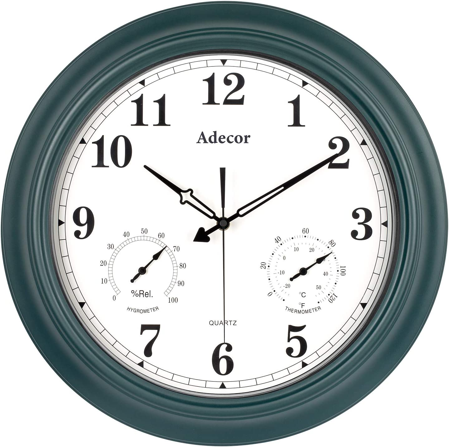 Adecor Waterproof Outdoor Clock, Metal Wall Clocks with Thermometer & Hygrometer Combo, Silent Battery Operated Large Clock, Easy Read for Garden/Patio/Pool/Fence/Bathroom, 18 inch, Pine Green