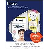 Bioré Face Care Brightening Gift Set (2 Pack) Jelly Cleanser, 14ct Original Pore Strips and Bonus Facial Scrubber
