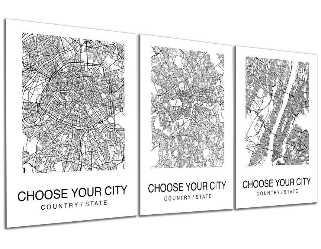 Custom Map Wall Art Print Poster Set of 3 City Map Street Black & White