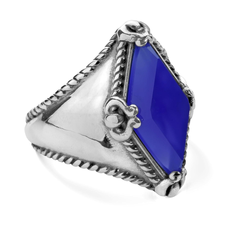 Carolyn Pollack Sterling Silver Blue Agate or Labradorite Gemstone Kite-Set Ring Size 5 to 10
