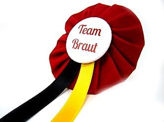 AnneSvea Orden - Team Braut rot gelb schwarz JGA Jungegellinnenabschied Button Geschenk