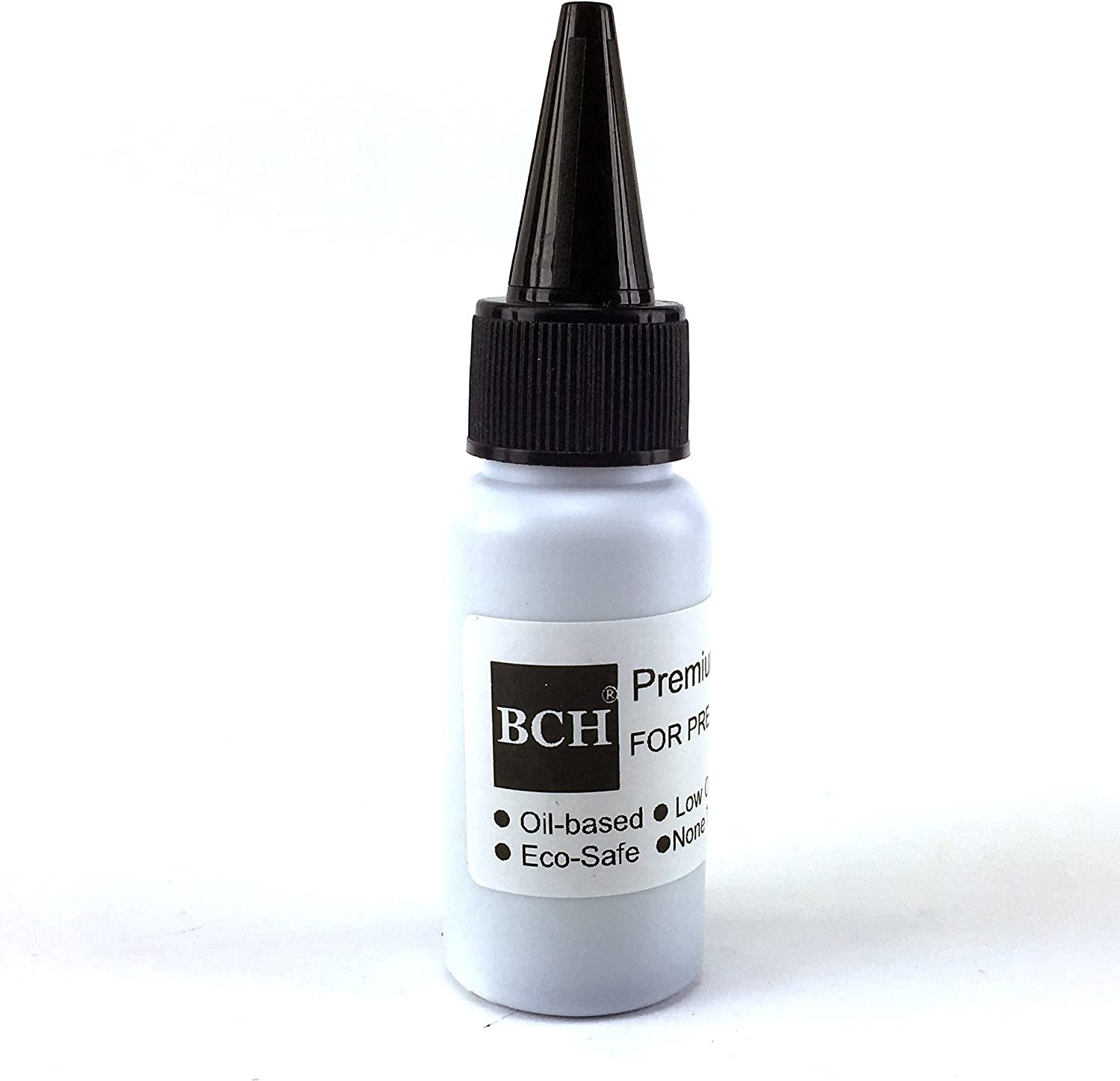 Black Stamp Refill Ink by BCH - Oil-Based for Roller Stamp or Pre-Inked Rubber Gel Pads - 20ml Bottle