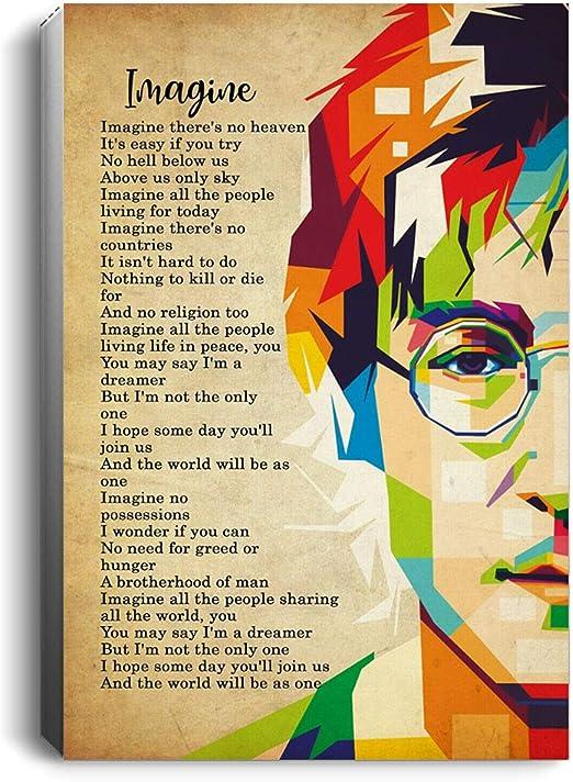 Amazon.com: The Beatles John Lennon Imagine Lyrics Portrait No ...